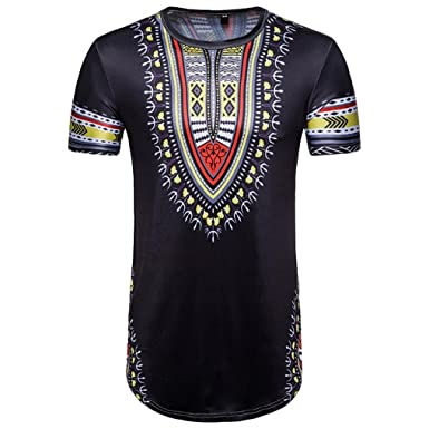 f6f8d856 HLHN Men T-Shirt,Short Sleeve African Print O Neck Slim Tops Casual  Pullover Blouse Summer Black: Amazon.co.uk: Clothing