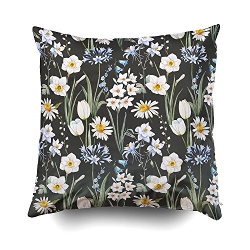 GROOTEY Decorative Cotton Square Pillow Case Covers with Zippered Closing for Home Sofa Decor Size 16X16 Inch Costom Pillowcse Throw Cover Cushion Watercolor Botanical Floral Pattern Wallpaper Spring