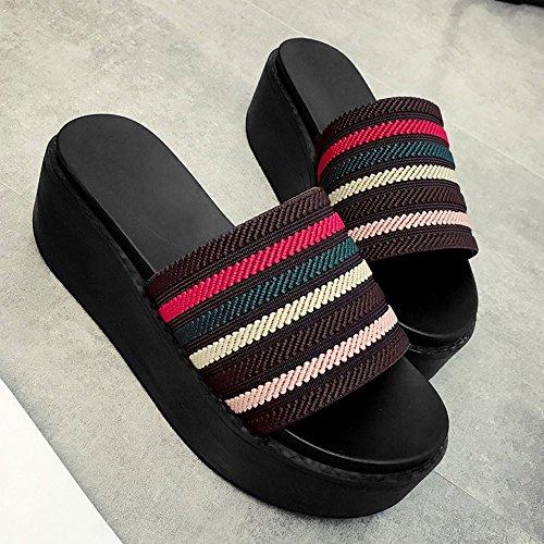 Verano Estudiantes Retro Moda de 3 Flops Taste LHA Tamaño Inferior Shoes Flip Nuevos Palabra Muffin 2018 2 5 Color Kong Sandalias Sandalias EU38 Hong Gruesas Wild CN38 Femenina UK5 wxaqnvA0n