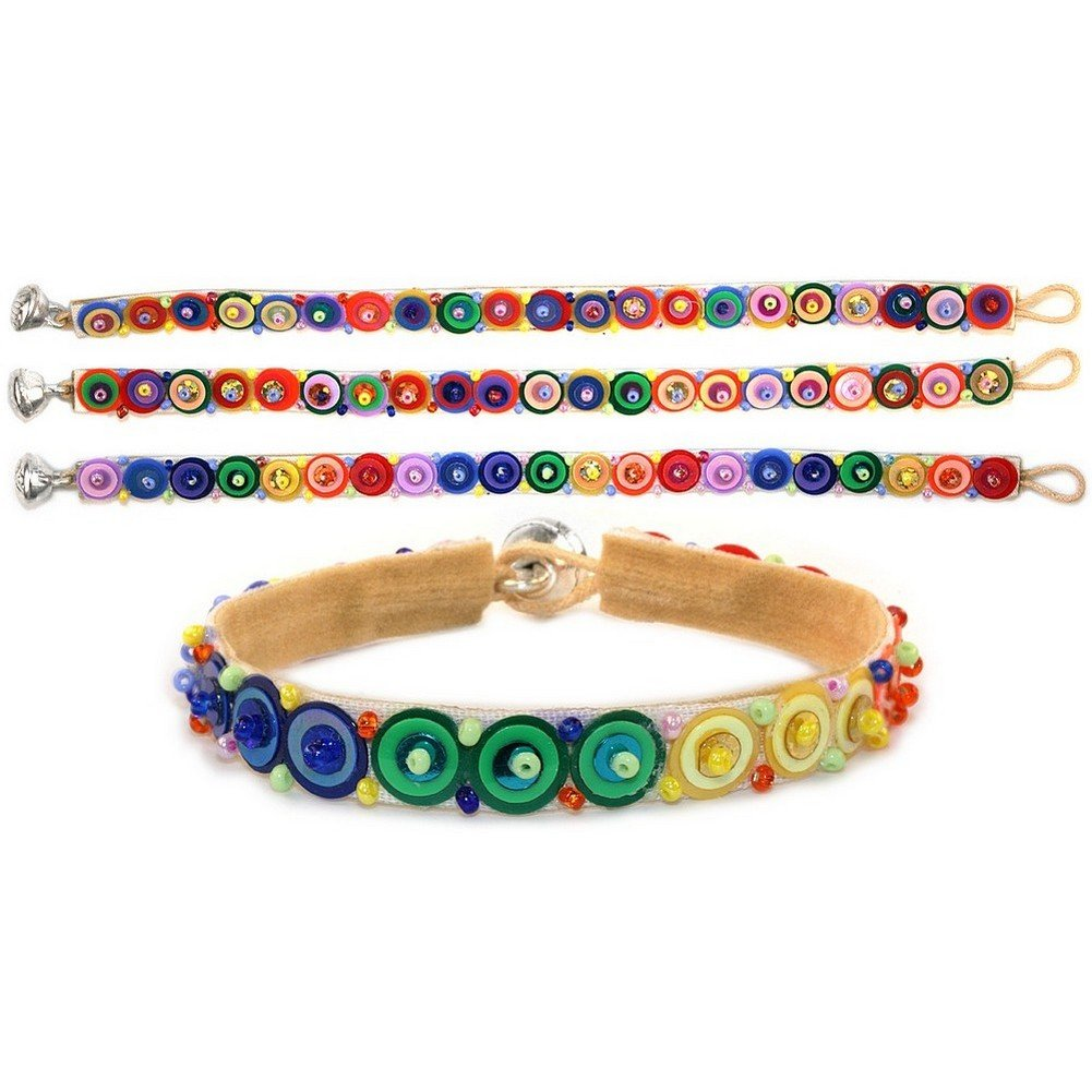 Joe Cool Bracelet Single Line Sequin Rainbow Made with Glass /& Bead