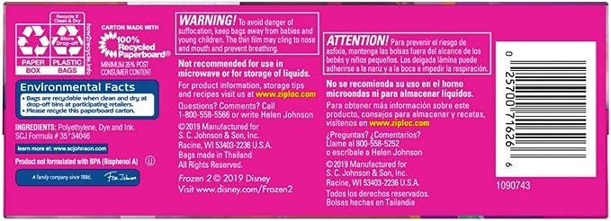 Ziploc Brand Snack Bags, Disneys Frozen 2, 66 ct