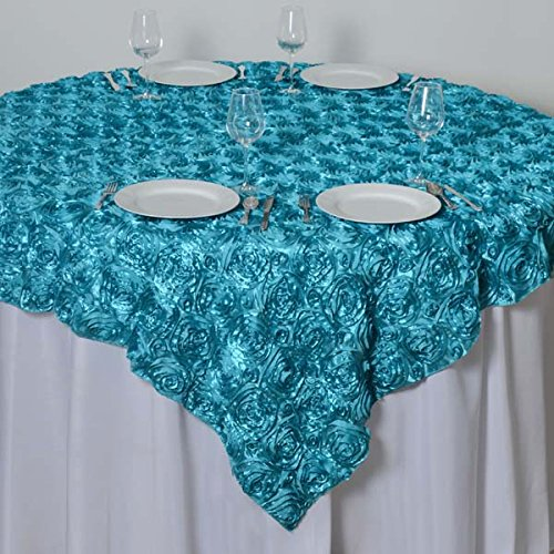(LinenTablecloth Rosette Satin Square Overlay Tablecloth, 85-Inch, Turquoise )