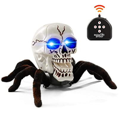 BEJOY Remote Control Spider Toy Halloween Horror RC Skull Spider with Glowing Blue Eyes for Kids and Adults: Toys & Games