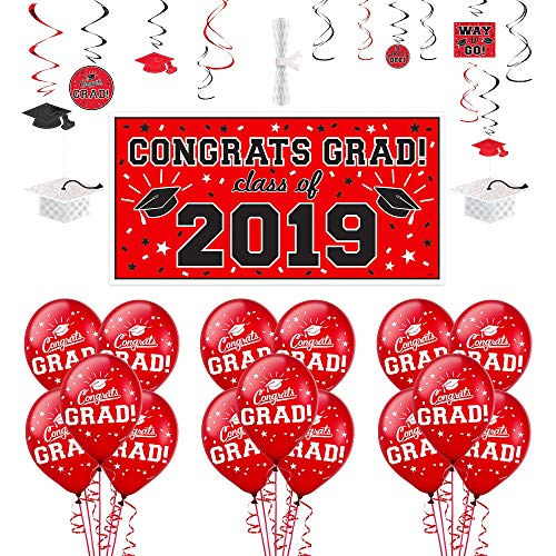 Party City Red Congrats Grad 2019 Graduation Decorating Supplies with Banner, Balloons, and Hanging Decorations