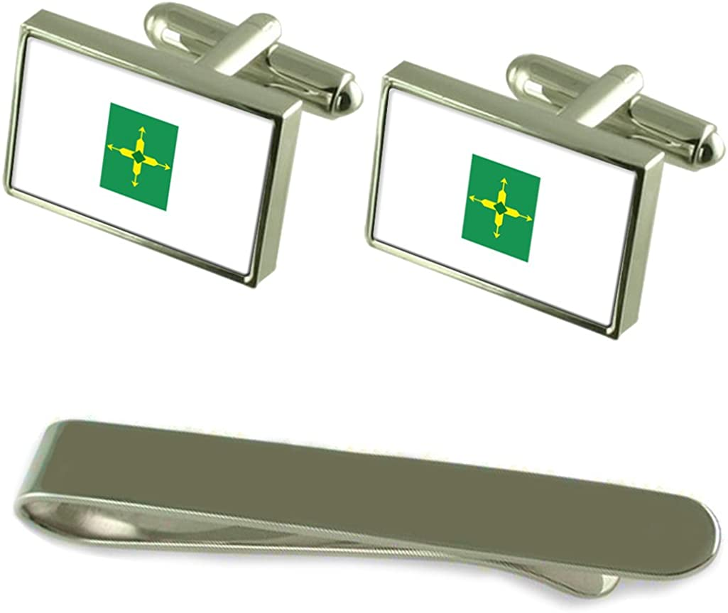 Federal District Flag Silver Cufflinks Tie Clip Box Gift Set