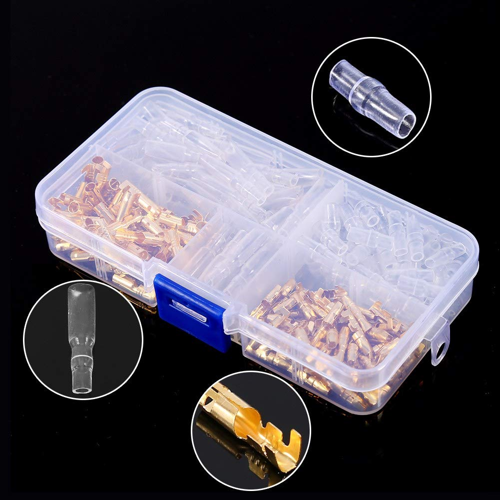 120pcs Brass 3.5mm Bullet Connector Terminal Male /& Female with Insulation Cover