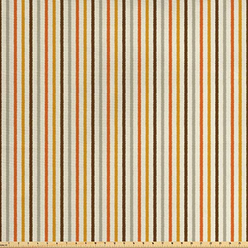COVASA Vintage Fabric by The Yard, Retro Nostalgic 60s 70s Fashion Stripes Vertical Pattern Vintage, Decorative Fabric for Upholstery and Home Accents, 3 Yards, Orange Mustard Dust Cream
