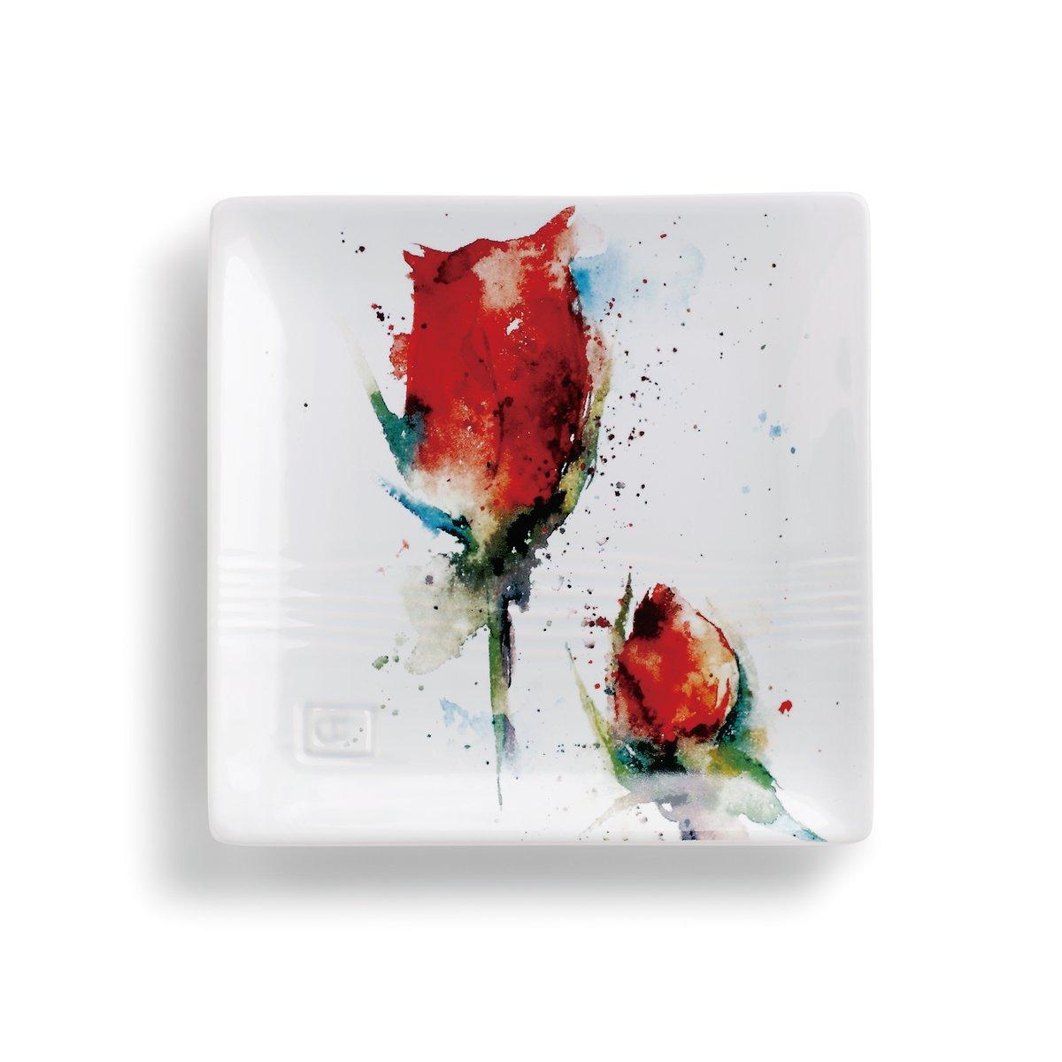 Demdaco 3005051276 Big Sky Carvers Red Rose Snack Plate, Multicolor