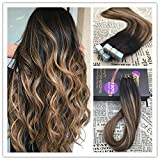 Moresoo 22 inch New Color 50g/20pcs Cheveux Bresilien Seamless Skin Weft Tape In Hair Extensions Balayage Color Three Tone Hair Dark Brown and Light Brown Hair with Black Root 100% Straight Unprocessed Virgin Human Hair