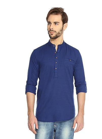afc913d0a Rockstar Jeans Men's Linen Kurta (Rj_Kurta_Dark Blue_X-Large): Amazon.in:  Clothing & Accessories