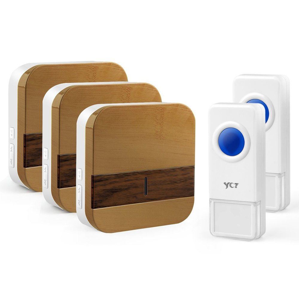 YCZ Wireless Doorbell Chime Wood Receiver Waterproof Push Button Remote Operating Range at Over 1000 ft with 52 Chimes with LED Indicator for Home Office Store and More (2 push button+3 receiver)