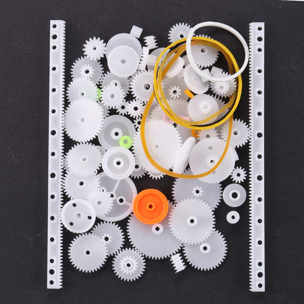 75 Assorted Plastic Crown Gear Single Double Reduction Worm Small Parts DIY Kit