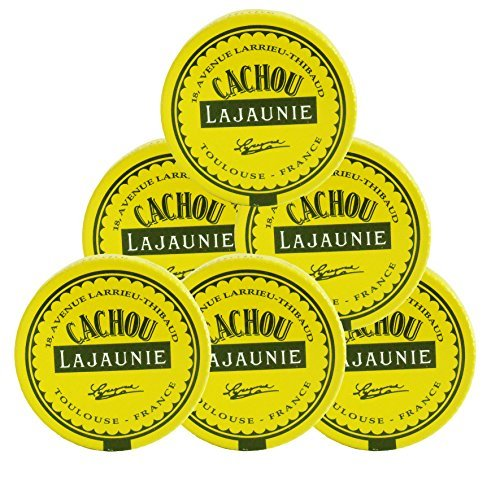 Cachou Lajaunie - Hard Licorice Candies From France, 6 Tins 6x0.25oz