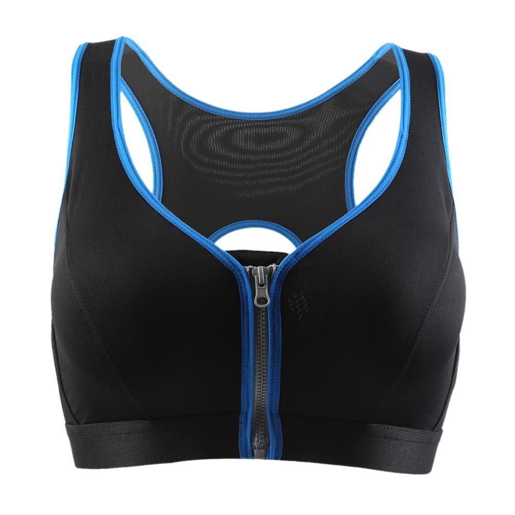 Bornbayb Femmes Racerback Workout D/ébardeur Avant Zipper Sports Bra Yoga Bra Fitness Rembourr/é
