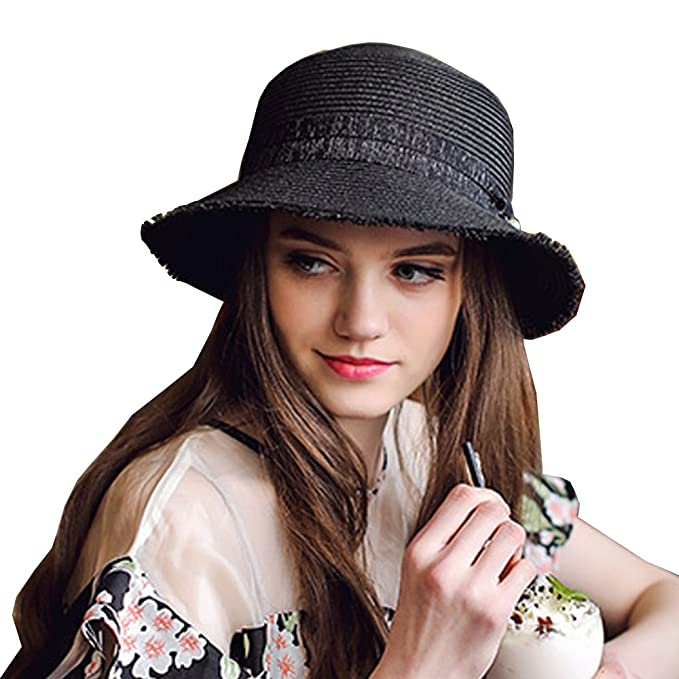 HOYAYO Summer Beach Straw Sun Hats for Women Wide UPF50 Sun Protection Hat  Black aed8b5842716