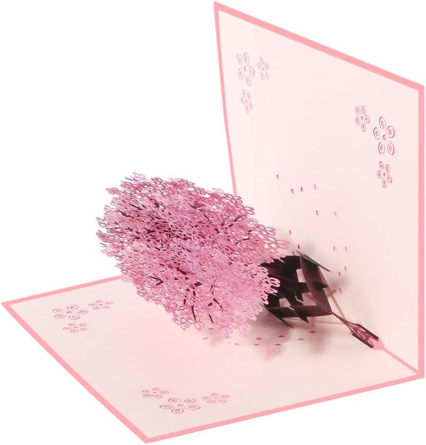 f/ür Geburtstags Valentinstag Gru/ßkarten mit Umschlag und Rosa Kirschbl/üte Graduierung Hochzeitseinladung Geschenke zur Hochzeit Valentinstag Karte Vicloon 3D Karte Hochzeitstag