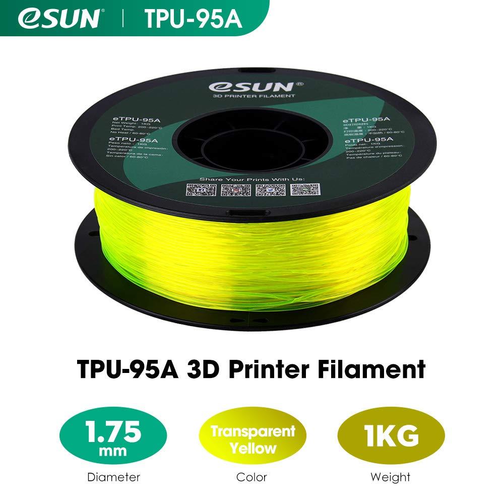 Dimensional Accuracy +//- 0.05mm 10 Meter 32.8 Feet TPU 95A 3D Printer Filament 1.75mm Roll 3D Printing Filament for 3D Printers eSUN Flexible TPU Filament Sample Bag Black