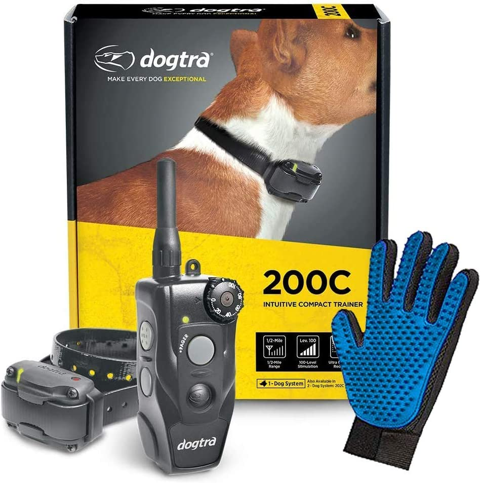 Dogtra 200C Training Collar - ½ Mile Range - One Hand Control - 100 Stimulation Levels and 3 Modes - Compact and Discreet Collar - Sleek, Slim, Sturdy Design - Bonus Grooming Glove Included