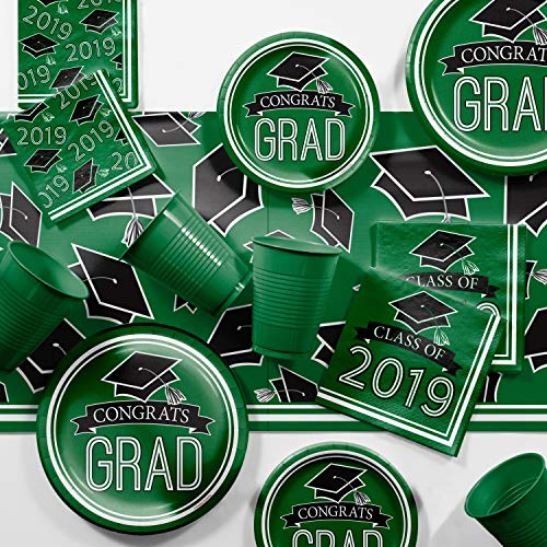 (Green 2019 Graduation Party Supplies Kit, Serves 18)