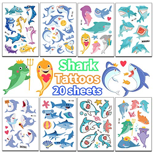 Jatidne Shark Tattoos for Kids Birthday Party Favors Colorul Temporary Tattoos Shark Party Supplies 20 Sheets for $<!--$7.48-->