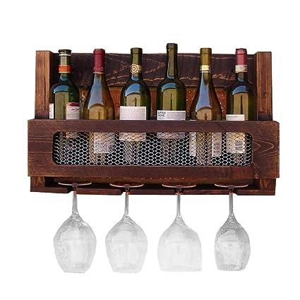 Armario para vinos Botellas de Vino montadas en la Pared de Madera Estante de los vidrios
