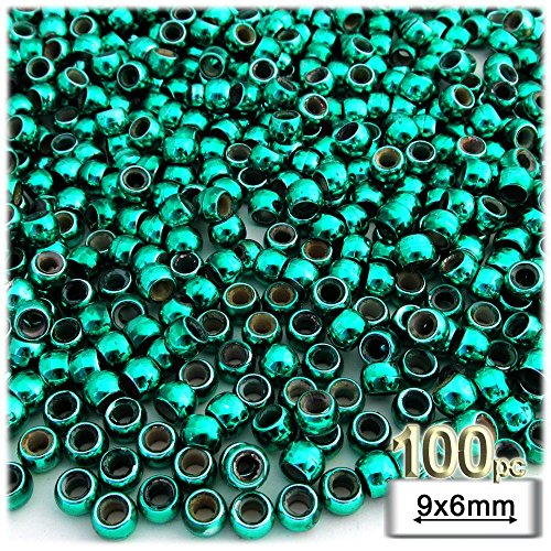 The Crafts Outlet 1000-Piece Plastic Round Opaque Pony Beads, 9 by 6mm, Christmas Green ()
