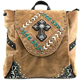 Justin West Trendy Western Rhinestone Leather Conceal Carry Top Handle Backpack Purse (Western Tan)