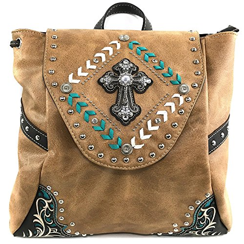 Justin West Trendy Western Rhinestone Leather Conceal Carry Top Handle Backpack Purse (Western Tan) by Justin West