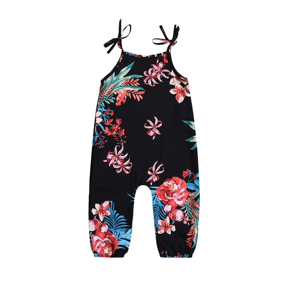 Oldeagle Infant Baby Girl Floral Print Sleeveless Strap Romper Jumpsuit Playsuit Baby Fashion Clothing (12M, Black)