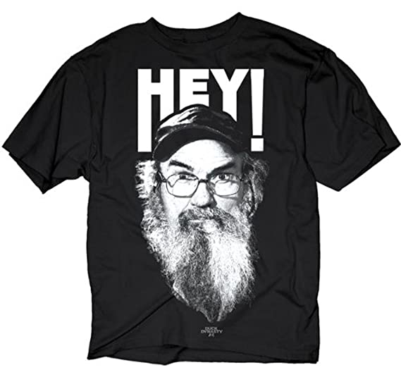 b463d5c60bb Duck Dynasty Si Robertson Commander HEY! Adult Black T-Shirt (Adult Small)