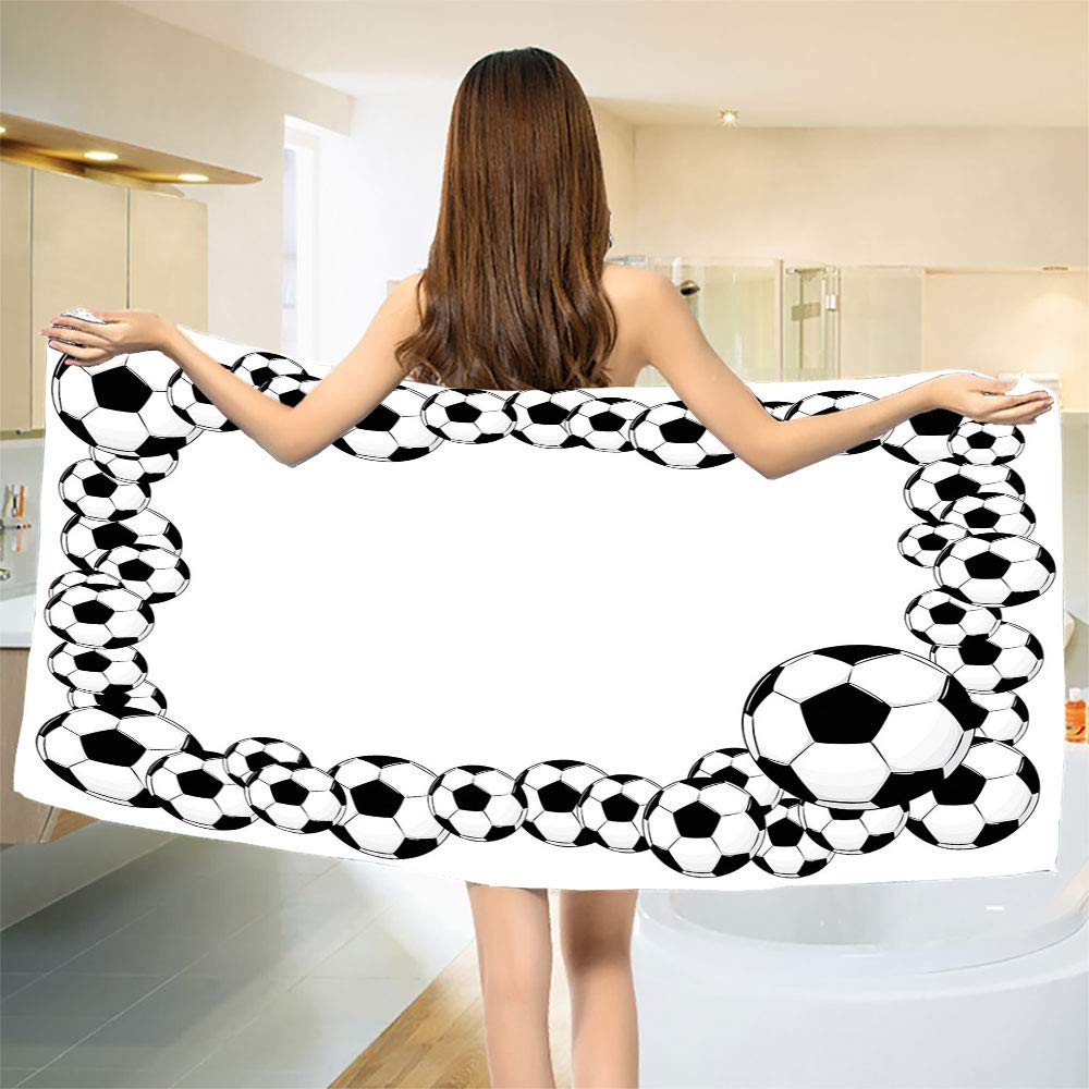 smallbeefly Soccer Bath Towel Monochrome Football Frame Pattern Abstract Illustration Playing Sports Game Bathroom Towels White Charcoal Grey Size: W 31.5'' x L 70''