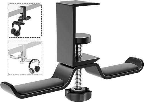 OMOTON Headphone Hanger 360 Degree Rotation Universal Aluminum Headphone Adjustable Headset Stand Clamp Mount Desk Hook Holder Fits All Headphone Sizes
