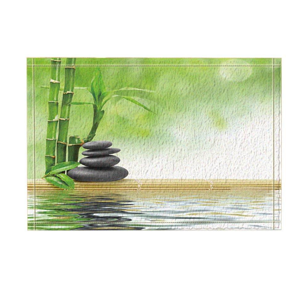 KOTOM Spa Decor, Zen Stock with Bamboo in Water Bath Rugs, Non-Slip Doormat Floor Entryways Indoor Front Door Mat, Kids Bath Mat, 15.7x23.6in, Bathroom Accessories