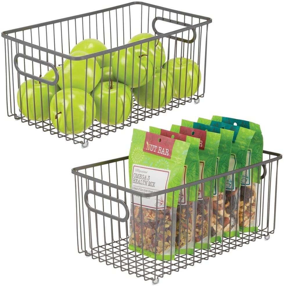 mDesign Metal Farmhouse Kitchen Pantry Food Storage Organizer Basket Bin Wire Grid Design for Cabinets, Cupboard, Shelves, Countertop Holds Potatoes, Onions, Fruit, Extra Large, 2 Pack - Graphite Gray