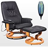 TUSCANY LEATHER BROWN SWIVEL RECLINER MASSAGE CHAIR w FOOT STOOL ARMCHAIR 8 MOTOR MASSAGE UNIT BUILT IN