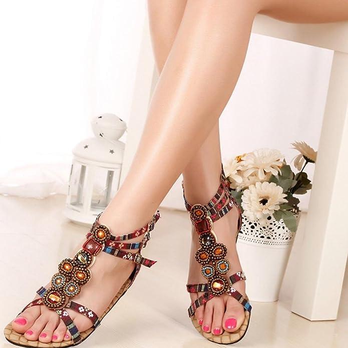Ouneed® Damen böhmische Art Reißverschluss Ebene Schuhe Kederleiste beiläufige geöffnete Zehe Sandalen Flip Flops Damen Erwachsene Zehentrenner (38, Gelb)