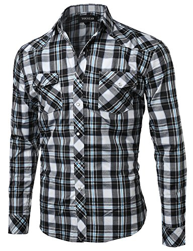 Youstar Mens Solid Plaid Long Sleeves Western Casual Button Down Shirt