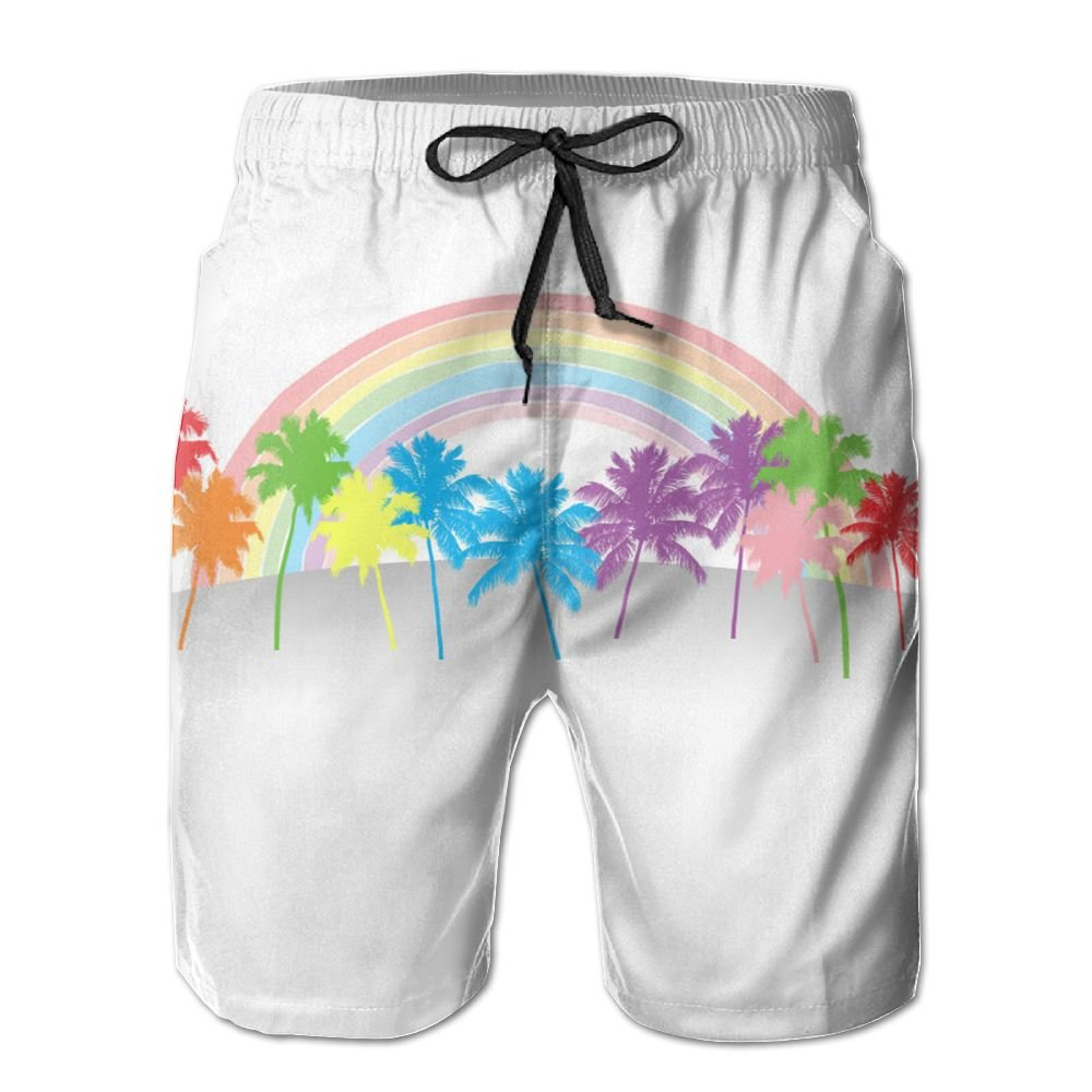 Monwe California Rainbow Boys Summer Casual Shorts,Beach Shorts Fit Performance Shorts