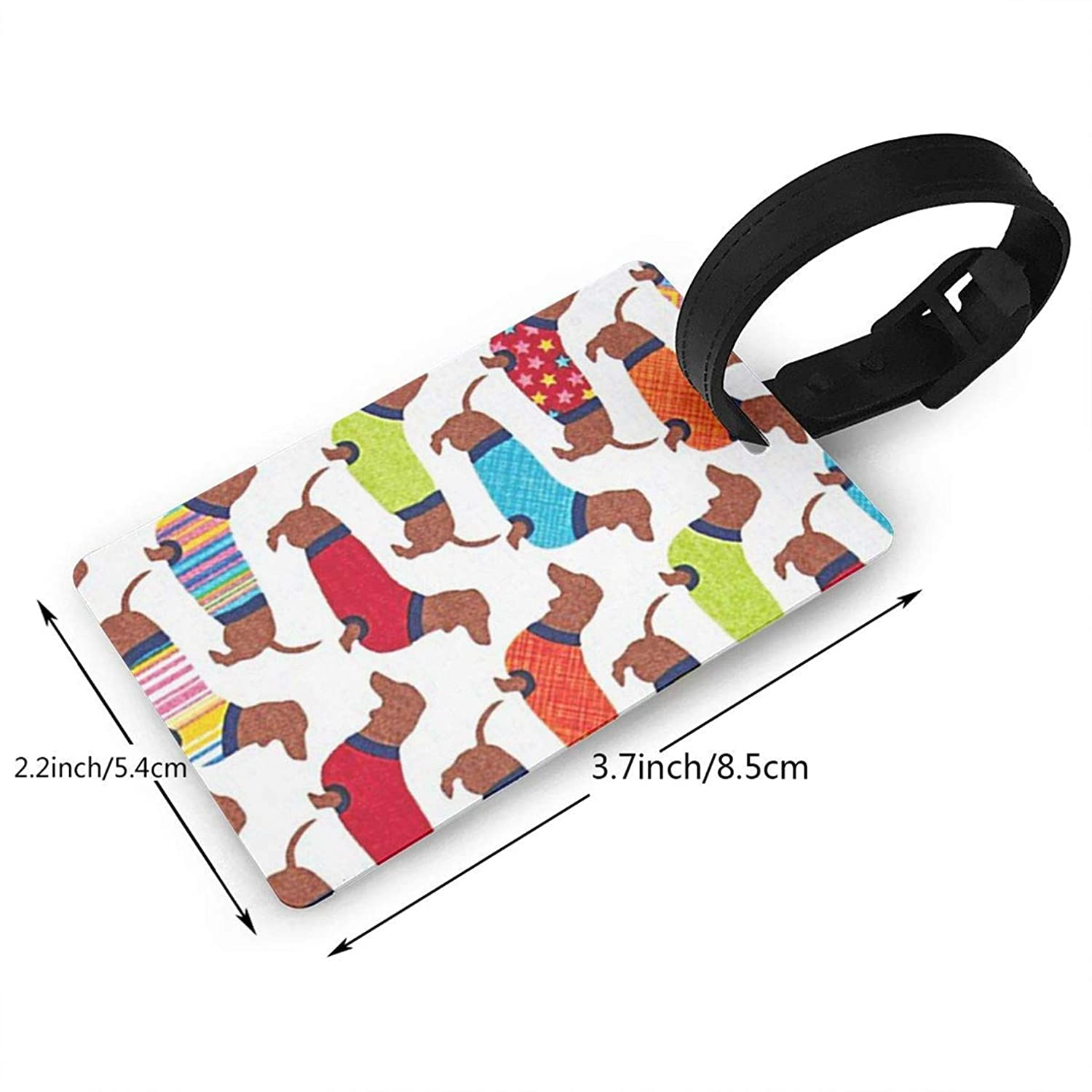 Dachshunds,Travel ID Bag Tag for Suitcase,Printed,Flexible PVC,Travel ID Identification for Bags Consignment Card