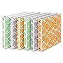 Samsill Fashion Design 3 Ring Binder,Diamond Weave Print, 1 Inch Round Rings, Assorted Colors  (Green, Gray, Orange), Bulk Binders - 6 Pack