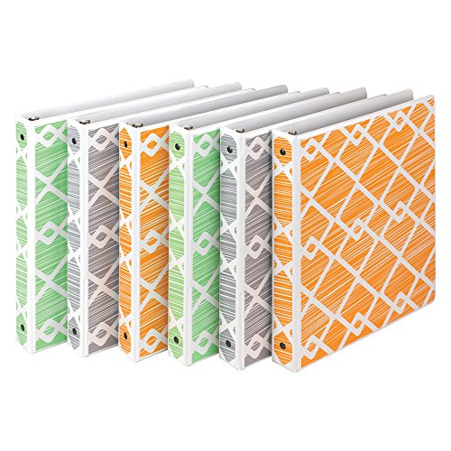 Samsill Fashion Design 3 Ring Binder,Diamond Weave Print, 1 Inch Round Rings, Assorted Colors  (Green, Gray, Orange), Bulk Binders - 6 - Samsill Ring 3 Vinyl