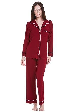 Del Rossa Women's Modal Knit Pajamas, Long Sleeved Pajama Set at ...