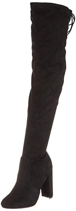 942fa40cd489 Womens Block Heel Stretch Long Over The Knee Riding Wide Fit High Boots -  Black -