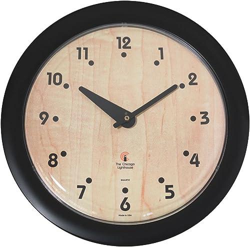 Birchwood Bauhaus -Sleek Black Frame-14 Fashion Wall Clock-Traditional