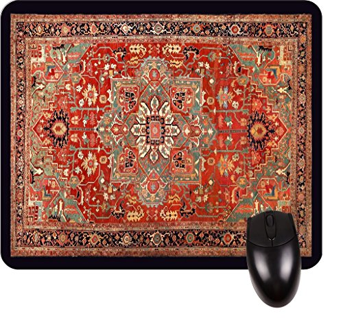 Antique Style Persian Heriz Serapi Rug Print Design -Square Mouse pad - Stylish, Durable Office Accessory and Gift Made in The (Serapi Carpet)