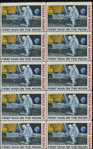 FIRST MAN ON THE MOON ~ NEIL ARMSTRONG ~ SPACE ~ MOON LANDING ~ NASA ~ AIRMAIL #C076 Block of 10 by 10¢ US Postage Stamps