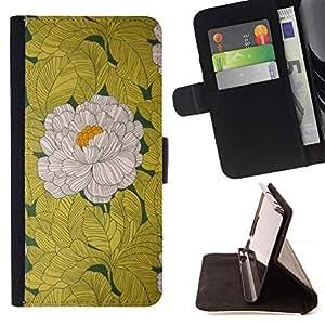 For Apple (4.7 inches!!!) iPhone 6 / 6S Case , Begonia Flor Blanco vintage amarillo- la tarjeta de Crédito Slots PU Funda de cuero Monedero caso cubierta de piel