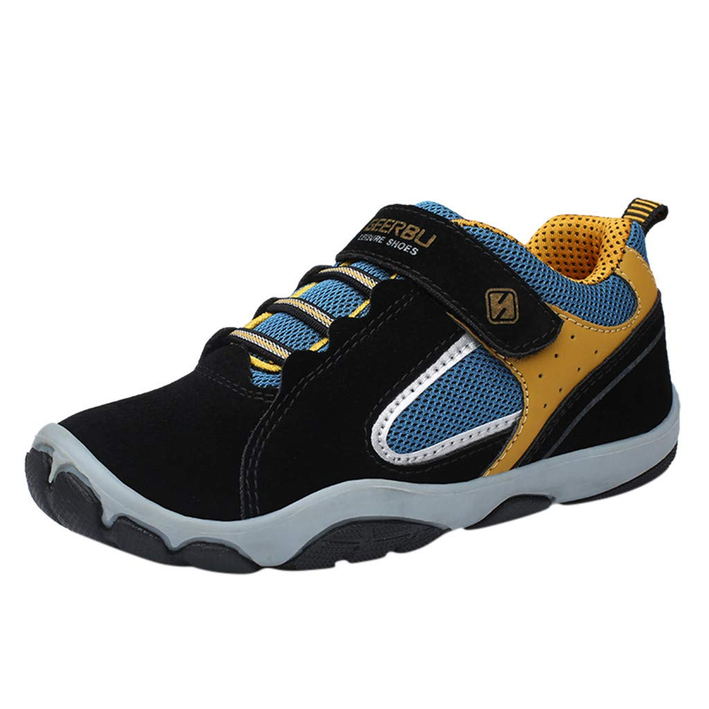 Kuaneus Boys Girls Spliced Color Casual Running Sport Shoes Breathable Lightweight Soft Sneakers (Little Kid/Big Kid) Black by Kauneus Kid Shoes NEW