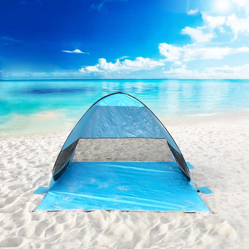 Pop Up Beach Canopy Automatic Beach Tent Umbrella Outdoor,UPF 50 UV Protection Sun Shelter Sun Shade,Portable Tent Family Cabana Beach Shelter for Fishing Camping Garden