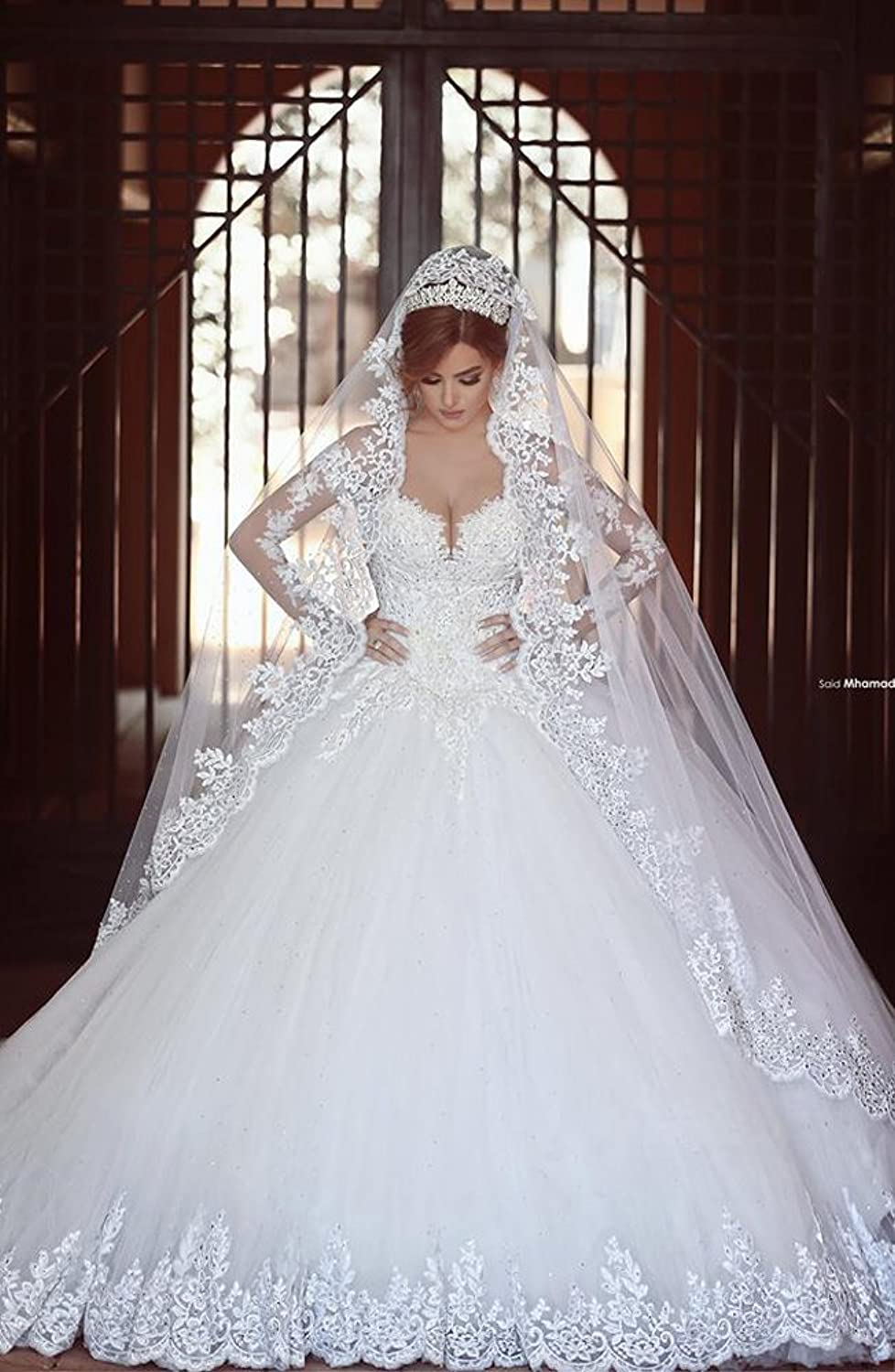 BSRVLG ie UTF8&dpID DBL&dpSrc sims&preST AC UL amazon com wedding dresses Bridess Women s Lace Appliques Sweetheart Ball Gown Wedding Dress Long Sleeve at Amazon Women s Clothing store